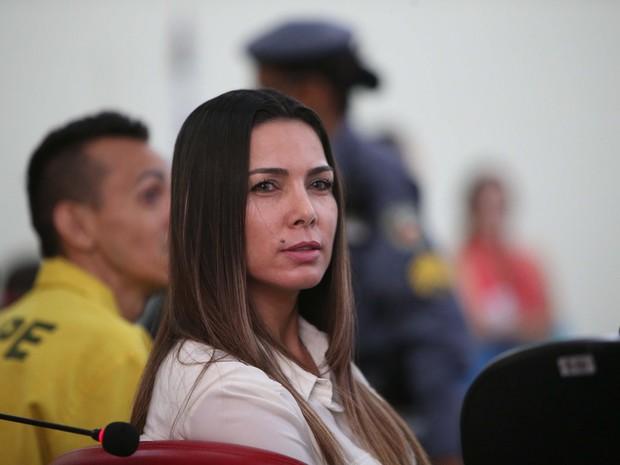 Marcelaine durante o julgamento (Foto: Divulgação / Tribunal de Justiça do Amazonas)