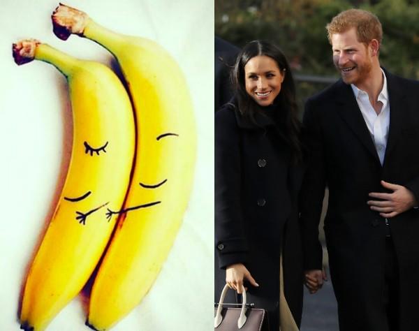 A imagem com as bananas compartilhada por Meghan Markle e a atriz com o Príncipe Harry (Foto: Instagram/Getty Images)