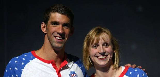 Phelps e Ledescky: a lenda diz que ele fugiu da moça (Foto: Getty Images)