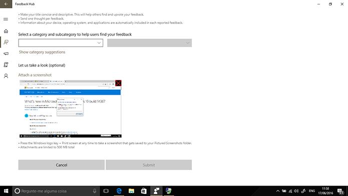Windows 10 tem novo atalho que abre Feedback Hub com print da tela anexado (Foto: Reprodução/Elson de Souza)