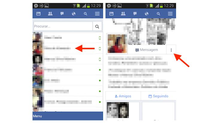 Acessando as opções para um perfil de amigo no Facebook Lite para Android (Foto: Reprodução/Marvin Costa)