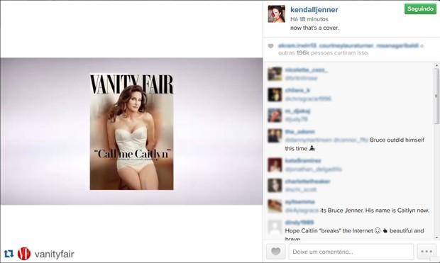 Kendall Jenner comenta a capa de Caitlyn Jenner (Foto: Instagram / Reprodução)