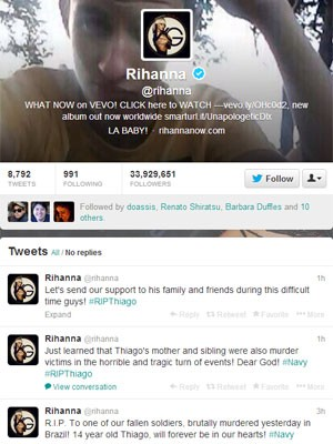 Perfil da cantora Rihanna homenageando fã brasileiro (Foto: Reprodução/Twitter Rihanna)