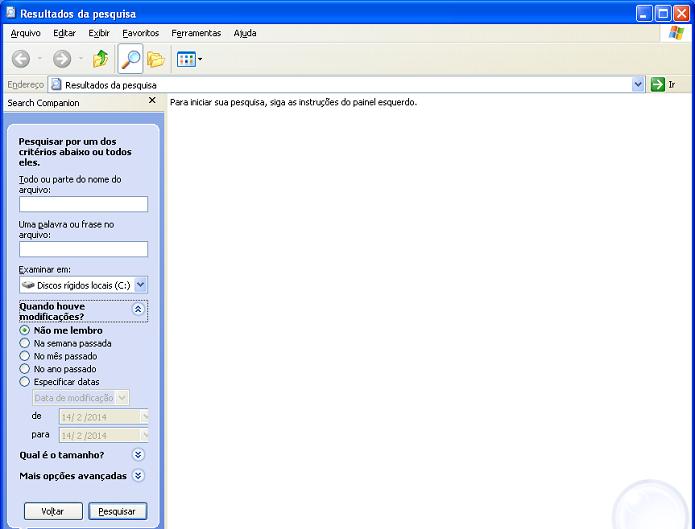 Pesquisa e seus parâmetros no Windows XP (Foto: Reprodução/Edivaldo Brito)