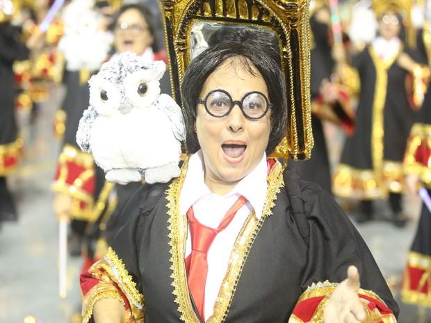 Passista vestido de 'Harry Potter' desfila durante apresentação da Dragões da Real (Foto: Raul Zito/G1)