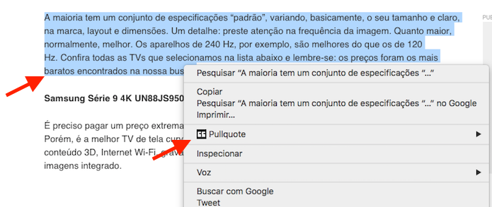 Escolhendo um texto para ser utilizado em um novo tuíte no Pullquote no Google Chrome (Foto: Reprodução/Marvin Costa)