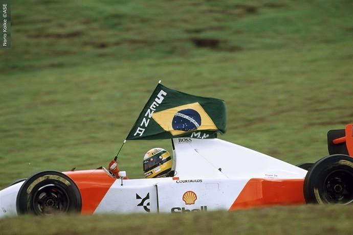 Senna no Grande Prêmio do Brasil, em 1993 (Foto: Norio Koike)