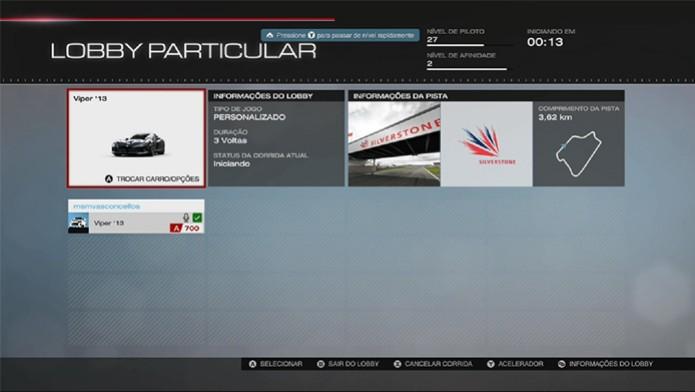 Forza 5: note o símbolo verde ao lado dos nomes para não começar a corrida sozinho (Foto: Reprodução/ Matheus Vasconcellos)
