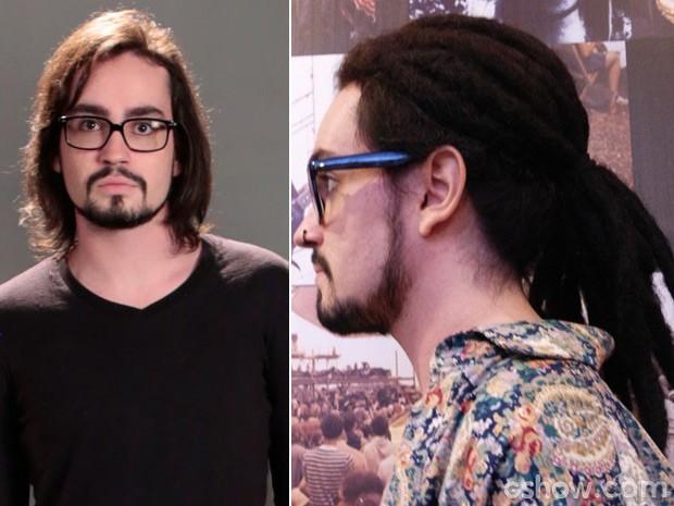 Dread usado por Jonnhy Hooker não é de verdade. Veja o antes e depois (Foto: Felipe Monteiro / TV Globo)