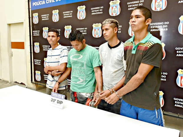 Presos Igor Ysmarley, Anderson Ajuricaba, Francisco Tharlos  e Thayneson Oliveira (Foto: Adneison Severiano/G1 AM)