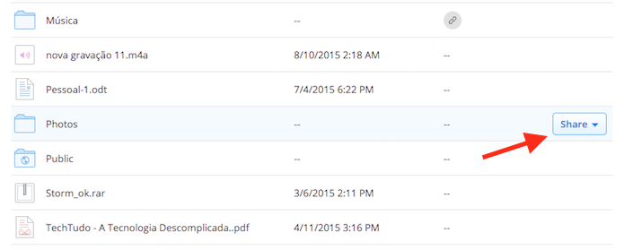 Acessando o botão de compartilhamento de um arquivo ou pasta do Dropbox (Foto: Reprodução/Marvin Costa)