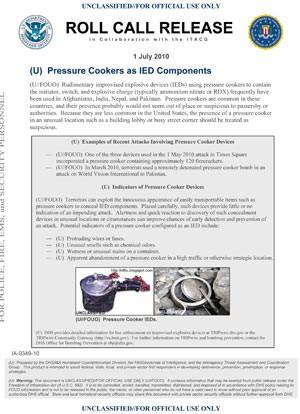 Panfleto do Departamento de Segurança Interna dos EUA de junho de 2010 alerta sobre como panela de pressão pode ser usada para fazer um artefato explosivo (Foto: AP)