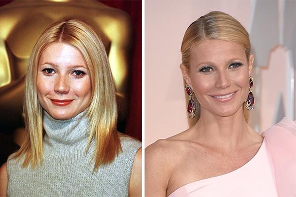 Gwyneth Paltrow ('Homem de Ferro') em 1999 e agora, em 2015, aos 42 anos (Foto: Getty Images)