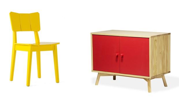 Investimento no Design: cadeira UMA (R$ 199) e buffet celeste (R$ 799) são alguns dos produtos apresentados no site da Oppa e nos showrooms da empresa (Foto: Divulgação)