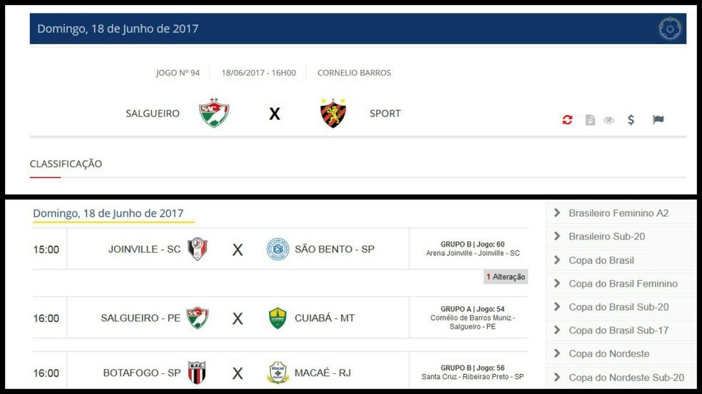 No site da Federação Pernambucana de Futebol e da CBF o dia 18 de junho aparece reservado para jogos distintos (Foto: Reprodução CBF e FPF)