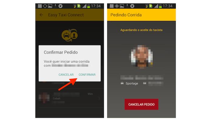 Pedindo uma nova corrida com a função Taxi Connect do Easy Taxi para Android (Foto: Reprodução/Marvin Costa)