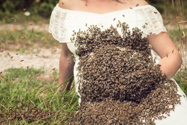 Emily com a barriga coberta por abelhas (Foto: Reprodução Facebook)