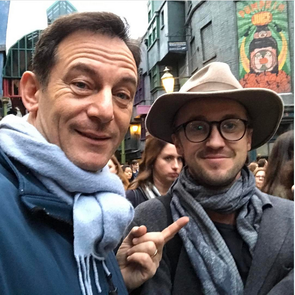 Jason Isaacs e Tom Felton, pai e filho em 'Harry Potter' (Foto: Instagram)