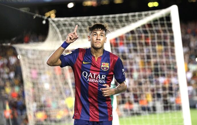Neymar comemora gol do Barcelona contra o Leon (Foto: Agência AP)