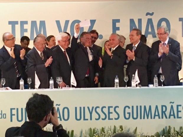 Blairo Maggi se filiou em evento com lideranças do partido, entre elas o vice-presidente Michel Temer (Foto: Assessoria/ Blairo Maggi)