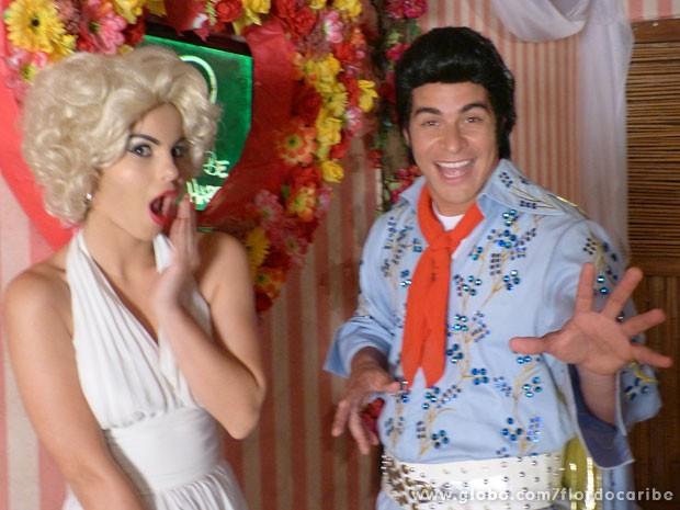 Sthefany Brito e Thiago Martins gravaram fantasiados de Marilyn Monroe e Elvys Presley, respectivamente (Foto: Flor do Caribe / TV Globo)