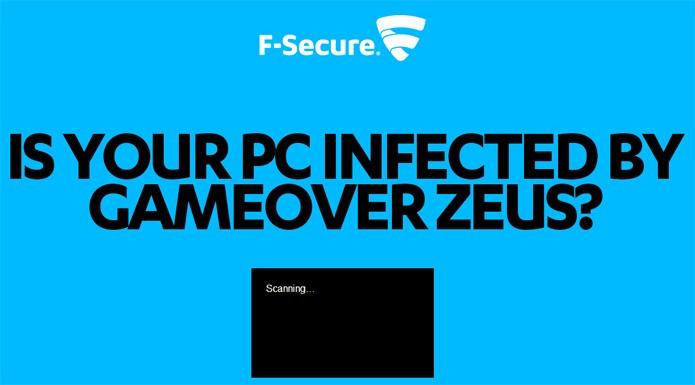 Página identifica e remove o GameOver Zeus automaticamente (foto: Reprodução/F-Secure)