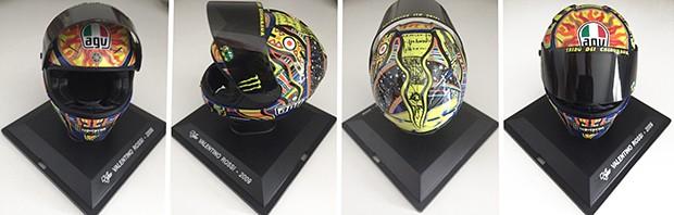 Réplica do capacete de Valentino Rossi, campeão da MotoGP pela Yamaha em 2019 no seu sexto título (Foto: Divulgação)