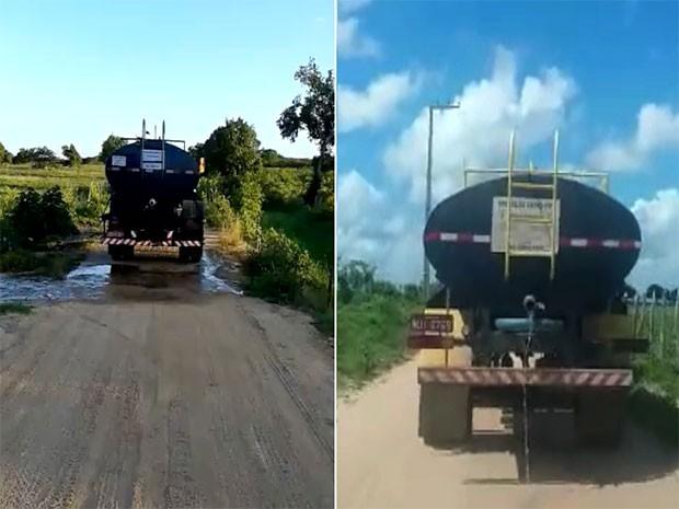 Pipeiros foram flagrados desperdiçando água na zona rural de Santa Maria, na região Agreste do RN (Foto: G1/RN)