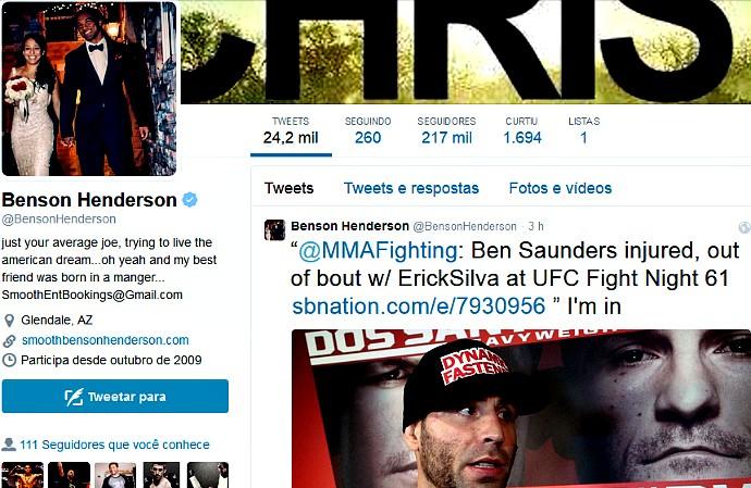 Postagem de Benson Henderson em rede social, sugerindo uma luta com Erick Silva (Foto: Reprodução/Twitter)