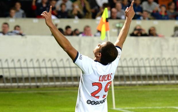 Lucas comemora gol do PSG contra o Bordeaux (Foto: Agência AFP)