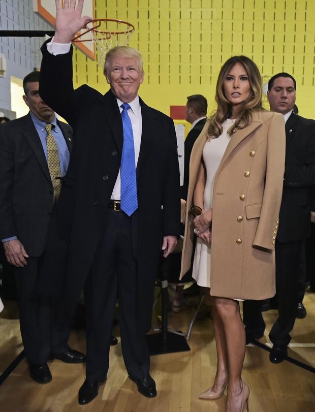 Donald Trump e Melania votam em Nova York (Foto: AFP)
