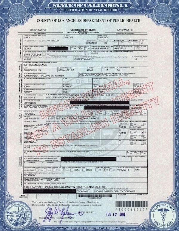 O documento divulgado pela polícia da Califórnia confirmando que Mark Salling cometeu suicídio por enforcamento (Foto: Divulgação)