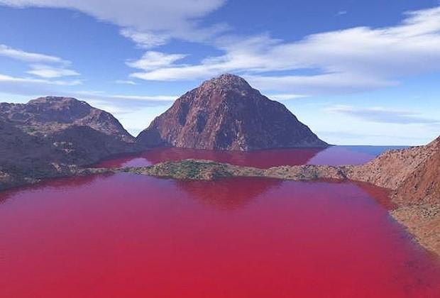 A água do reservatório O.C. Fisher, no Texas (EUA), que inexplicavelmente foi tingido de vermelho sangue (Foto: Divulgação)