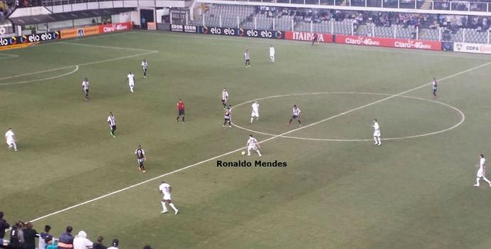 Ronaldo Mendes atuou solto no meio e criou as melhores jogadas do Santos na partida (Foto: Bruno Giufrida)