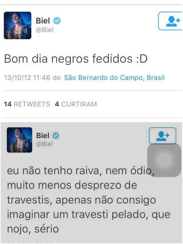 Tweets de Biel circulam na web com comentários ofensivos (Foto: Reprodução)