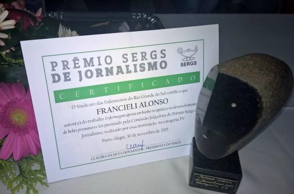 Francieli venceu prêmio com reportagem do Vida e Saúde (Foto: Divulgação/RBS TV)
