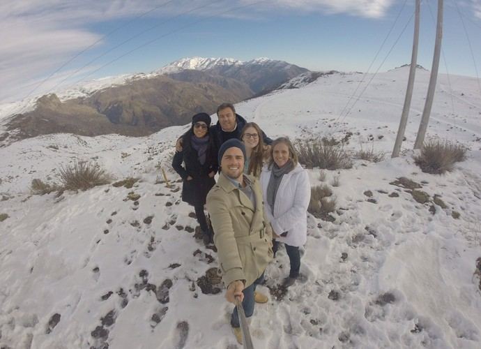 Talita e Rafael viajaram acompanhados dos pais e a irmã do capixaba (Foto: Arquivo Pessoal)