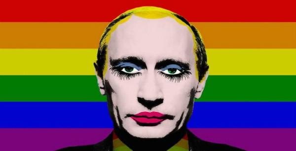 Ilustração mostra Vladimir Putin Maquiado e com as cores da bandeira LGBT ao fundo (Foto: Reprodução / Instagram)