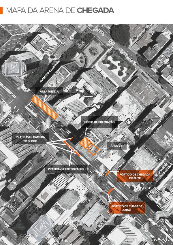 euatleta info Mapa Chegada São Silvestre  (Foto: Editoria de Arte / GLOBOESPORTE.COM)