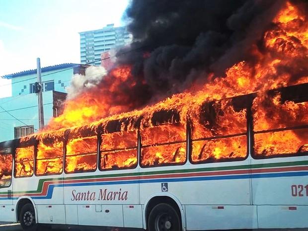 Ônibus foi destruído pelas chamas, ninguém se feriu (Foto: PM/Divulgação)