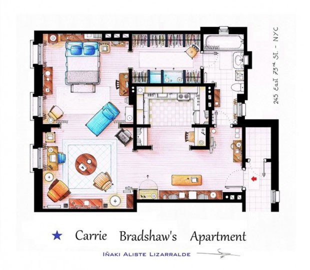 O apartamento de Carrie Bradshaw, da s&#233;rie Sex and the City (Foto: Nikneuk)