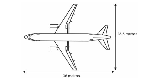 Desenho com medidas do avião (Foto: Reprodução/ENEM)