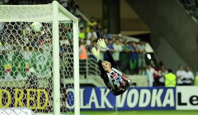 Douglas Friedrich, do Capivariano, não alcança o chute de Robinho, do Palmeiras (Foto: Marcos Ribolli)