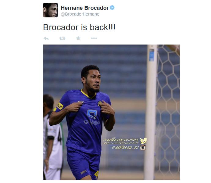 Hernane no Twitter: Brocador is back