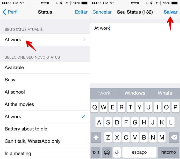 Alterando a mensagem de status do WhatsApp no iOS (Foto: Foto: Reprodução/Helito Bijora)