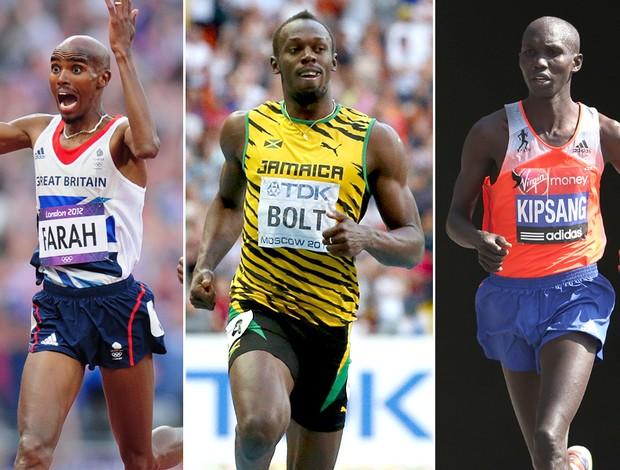 Montagem atletismo Usain Bolt, Mohamed Farah e Wilson Kipsang (Foto: Editoria de Arte)
