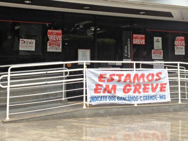 Bancos continuam em greve em MS (Foto: Tatiane Queiroz/ G1 MS)