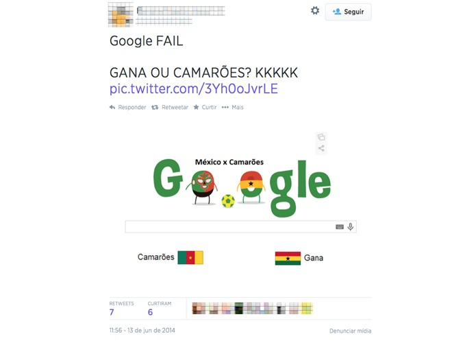 Internautas reparam no erro do Google, confundindo Camarões com Gana em Doodle (Foto: Reprodução/Melissa Cossetti)