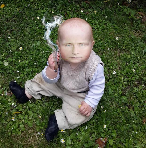 Usuário conseguiu deixar criança realmente com 'a cara' do presidente russo (Foto: Reprodução/Imgur/Buttermynuts)