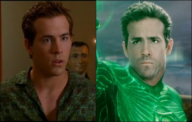 E o 'Lanterna Verde', o fofo canadense Ryan Reynolds, já foi 'O Dono da Festa'. Esse era o nome da comédia romântica que ele protagonizou em 2002, aos 26 anos. Hoje está com 38. (Foto: Reprodução e Divulgação)